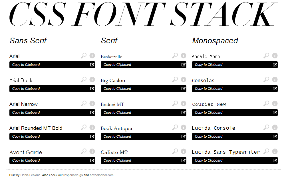 CSS Font Stack